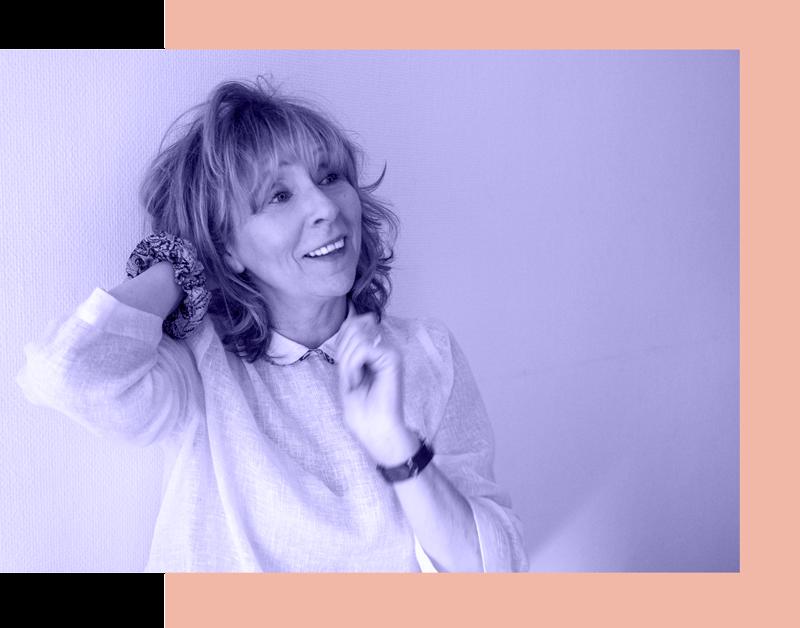 Michelle, fondatrice de Célestine M, la mode à l'unité en présence d'une couturière qui se déplace chez vous. Née en 1961, 1m65.